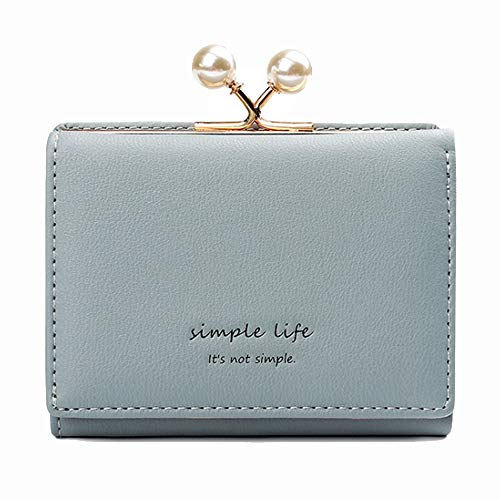 HOUSEHOLD Frauen Portable Durable Wallet Neue Leder-Mini Short DREI Falten Pu Wallet HBDZ (Color : Blue, Size : 10.8 * 8 * 3cm)