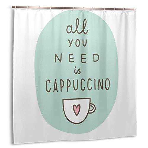 GUVICINIR Duschvorhang,Alles, was Sie brauchen, EIN Cappuccino-Zitat mit Tasse Kaffee & Herz,Vorhang Waschbar Langhaltig Hochwertig Bad Vorhang Wasserdichtes Design,mit Haken 180x180cm