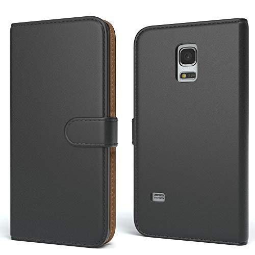 EAZY CASE Tasche für Samsung Galaxy S5 Mini Schutzhülle mit Standfunktion Klapphülle im Bookstyle, Handytasche Handyhülle Flip Cover mit Magnetverschluss und Kartenfach, Kunstleder, Schwarz