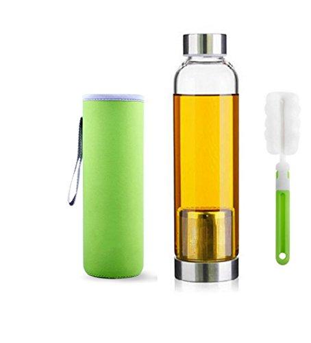 550ml Bottiglia del tè portatile ed elegante vetro con filtro in acciaio inox carrello da tè del setaccio di Infuser portatile teiera di vetro - Per Brewing Hot & Tè freddo, spazzola bottiglia (Green)