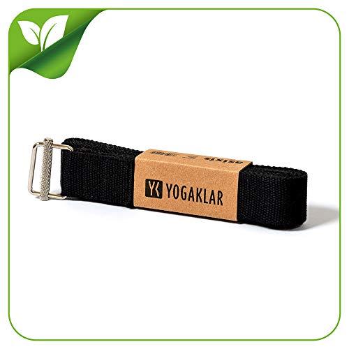 Yoga-Gurt aus 100% Baumwolle, 250 x 3,8 cm – mit rutschfestem Metall-Verschluss, extra stark und schön breit - STARTKLAR für Yoga!