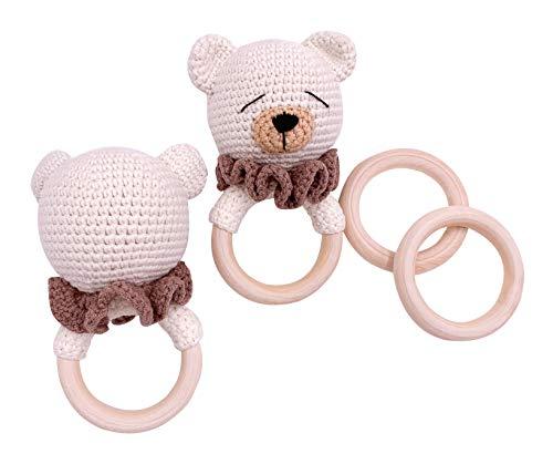 Little One Designer Greiflinge| Handmade Bio Neugeborenes Geschenk | Geschenk zur Geburt | Baby Party |Baby Shower | Teddy Bär Greifling | Generneutral| Weiß Braun