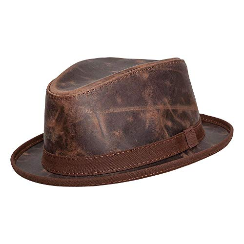 American Hat Makers Soho Leather Fedora — Brown, X-Large