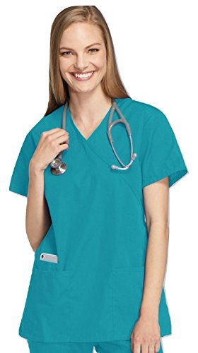 Smart Uniform Women's 1224 Scrub Modern Fit Mock Wrap Top (S, Knickente [Teal] 1)