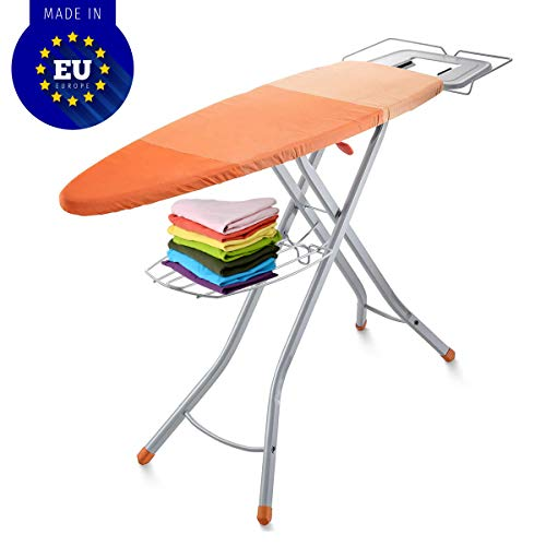 "Bartnelli Adjustable Ironing Board with Cover| Steam Iron Rest | Storage Tray for Finished Clothes | Wire Rack for Hanging Shirts and Pants | Stability Space Saving Size 48 x 16"" European Made Board"