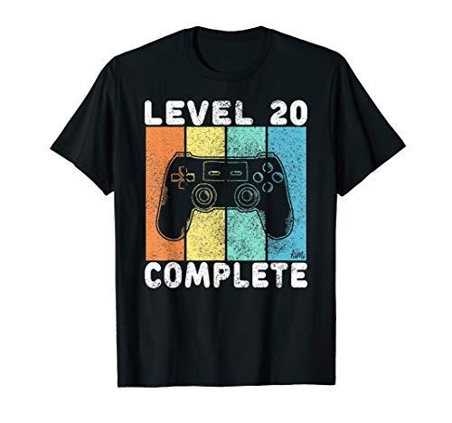 Herren 20. Geburtstag Männer Gamer Level 20 Complete 20 Jahre T-Shirt