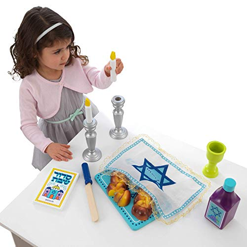 KidKraft 21-Piece Wooden Shabbat Set with Sliceable Challah Bread - Religious Toys, Jewish Holiday Toys, Gift for Ages 3+