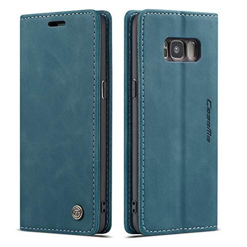 QLTYPRI Hülle für Samsung Galaxy S8, Vintage Dünne Handyhülle mit Kartenfach Geld Slot Ständer PU Ledertasche TPU Bumper Flip Schutzhülle Kompatibel mit Samsung Galaxy S8 - Blau