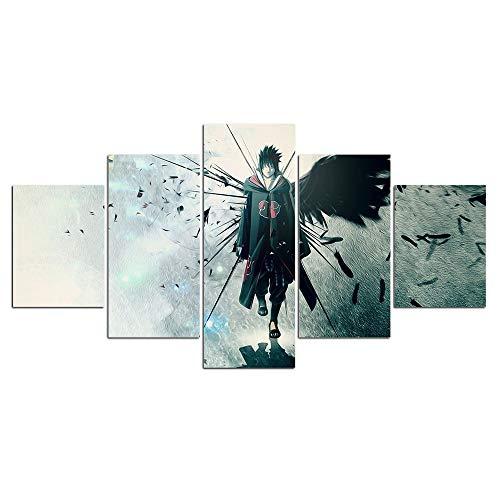 Jqchw 5 Stück Wall Art Naruto Anime Thema 5 Tafelmalerei Druck Uchiha Sasuke auf Leinwand HD Leinwand Plakat for Hauptdekor Dekoration EIN Geschenk for die Animation Fans
