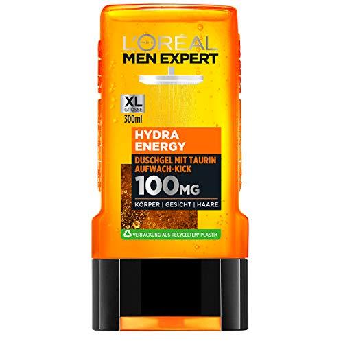 L'Oréal Men Expert Hydra Energy Taurin Duschgel, Minz-Extrakt belebt und regeneriert die Haut (Gesicht, Körper und Haare) sanft ohne auszutrocknen (1 x 300 ml)