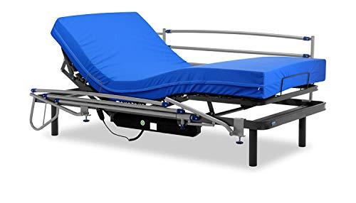 Gerialife® Cama articulada eléctrica con colchón Sanitario viscoelástico y barandillas | Patas más Altas (105x190, Gris Grafito)