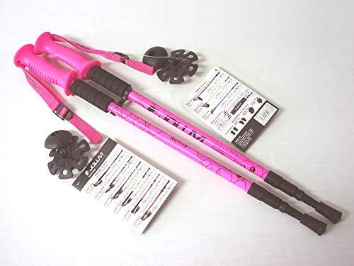 Joluvi Unisexe Active Bastones Trekking, 68-135 cm, Taille, Rose Fluo/Noir