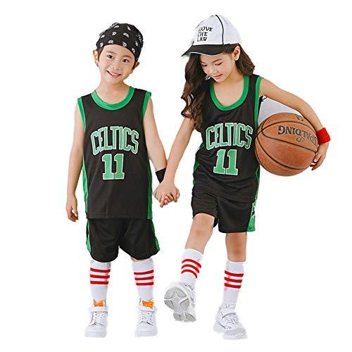 KSWX Camiseta de Baloncesto Niño Celtics # 11 Ropa De Entrenamiento De Baloncesto para Hombres Y Mujeres Kaili-Owen De Secado Rápido Transpirable,Black,M