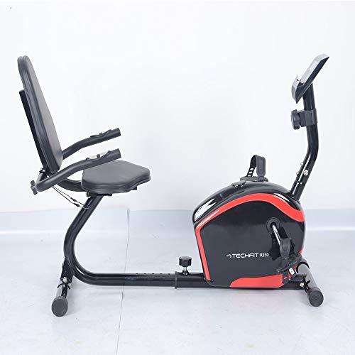 TechFit R350 - Bicicleta estática semialargada para casa, bicicleta magnética con volante de inercia de 8 kg, 8 niveles de dificultad y respaldo, color negro y rojo