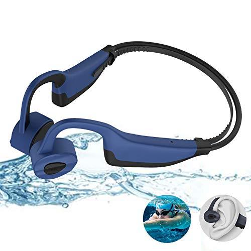 EDANQ IP8 Impermeable Auriculares Bluetooth 5.0, Auriculares Bluetooth de Conducción ósea, Nuevo 16GB Reproductor de Musica MP3, Cancelación de Ruido, Gimnasio Correr Nadar,Black Blue
