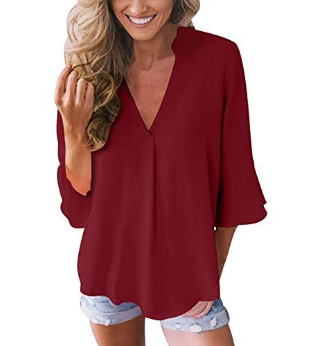 Blusas con Volantes Mujer Escote V Blusa Camisas Señora Top Camisa de Gasa Larga Camiseras Oficina Elegantes Camisetas Cuello V Lisas Blusones Vestir Formales Fiesta Largas Anchas Primavera Ve