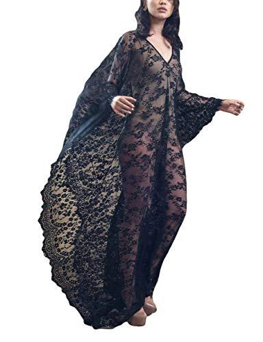 Bsubseach Damen Plus Größen Spitze Strand Kleid Reizvolle Tiefe V-Ansatz Lange Bikini Badeanzug Cover Up