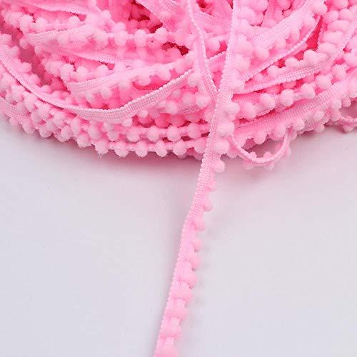 HL-PYL 5yards 12mm bébé Rose Pom Pom Boule Jeans vêtements en Dentelle Ruban Rideau Accueil Accessoires Textiles vêtements de Dentelle de Couture Bricolage