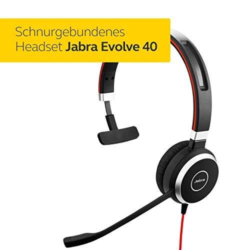 Jabra Evolve 40 UC Mono Headset - Unified Communications Kopfhörer für VoIP Softphone mit passivem Noise-Cancelling - USB-Kabel mit Anrufsteuerung - Schwarz