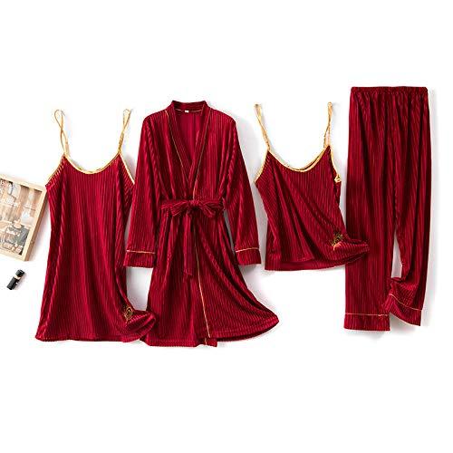 Damen Bademantel,Damen Samt Bad Robe 4 Sätze Wein Rot Streifen Federstickerei...