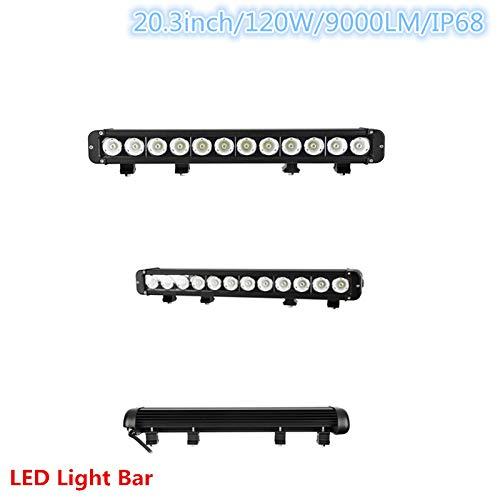 SXMA Barre lumineuse LED 120 W 51,6 cm pour voiture, camion, remorque, SUV, véhicule tout-terrain, bateau, lumière du jour (120 W)