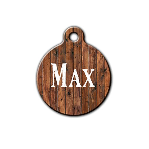 Pet id tag, Dog tag for dog, Rustic style pet tag, wood style pet tag, Personalized aluminum pet id tag