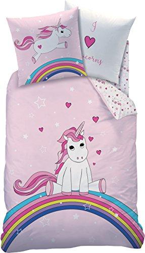 Familando Juego de ropa de cama reversible de unicornio, 135 x 200, 80 x 80 cm, linón, arcoíris 44965, ropa de cama infantil rosa para niñas