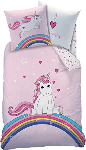 Familando Einhorn Wende Bettwäsche-Set 135x200 80x80 cm, Linon, Regenbogen 44965 Kinder-Bettwäsche rosa für Mädchen
