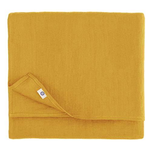Linen & Cotton Mantel de Mesa de Centro Paño de Mesa Decoración de Comedor Hygge - 100% Lino, Amarillo Mostaza (100 x 140 cm) Cubierta de Mesa Pequeña para Hogar Cocina Cena Navidad