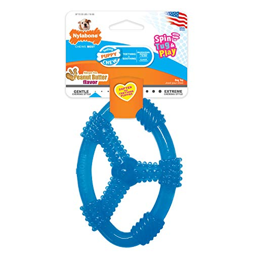 Nylabone Puppy Chew Spin Tug & Play Toy Peanut Butter Flavor Medium/Wolf - Up to 35 lbs.