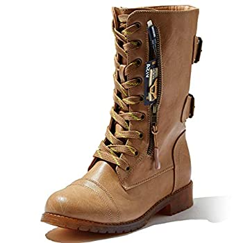 DailyShoes Women's Military Ankle Lace Up Booties