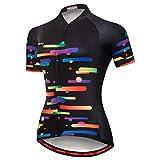 PSPORT Camiseta de ciclismo para mujer, manga corta y ropa de bicicleta reflectante 3 bolsillos S-3XL