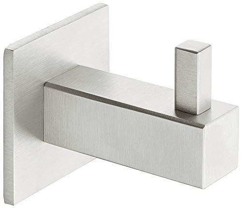 Gedotec Garderobenhaken Edelstahl matt gebürstet Kleiderhaken eckig - SOFIA | Design Garderobe für Wand & Paneel | Wand-Haken unsichtbar verschraubt | 1 Stück - Mantelhaken einzeln mit Schrauben