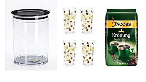 Jacobs Krönung Aroma-Bohnen 500g + Vorratsbehälter Aromafresh Kaffee 1 Liter Volumen + 4 Latte Gläser