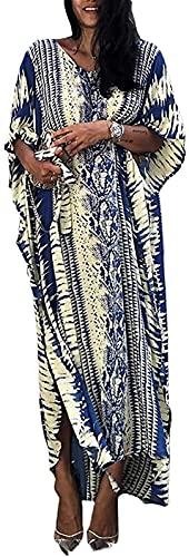 Taek-cheon Mujer Kaftan Playa Traje de baño Cubierta túnica Traje de baño Suelto Maxi Largo Bikini Traje de baño Vestido de Envoltura (Color : Blue, Size : One Size 45-62.5kg)