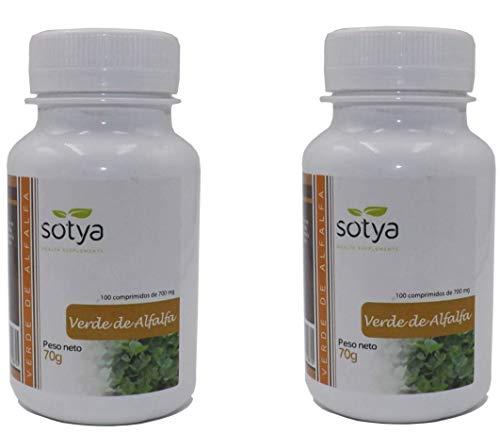 Sotya Verde De Alfalfa 200 comprimidos (pack de 100 + 100) 700 mg, aporta nutrientes, rica en sales minerales, aminoácidos ácidos grasos insaturados, clorofila, fibra y vitaminas al organismo.