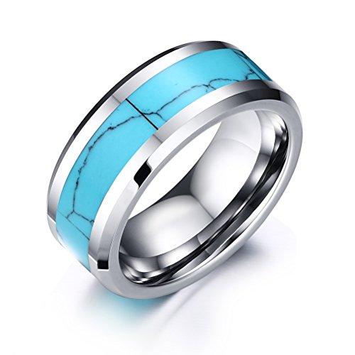 VNOX 8mm Tungsten Carbide Ring Blue Turquoise Inlay High Polish Beveled Edge Wedding Band,Silver Base,UK Size N 1/2