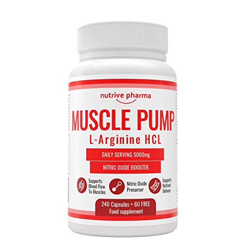 Muscle Pump® L-Arginin 5000mg pro Tagesdosis - Nitric Oxide Booster - 500mg in einer Kapsel - 240 Kapseln + 60 GRATIS