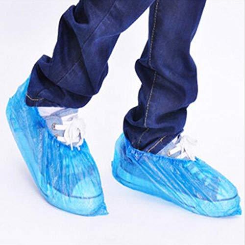 TTYAC Lot de 100 Couvre-Chaussures en Plastique jetables et élastiques Bleu