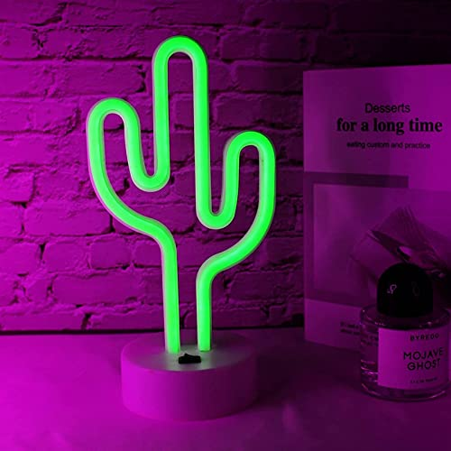 HMHMVM Letreros de neón de Cactus con Base de Soporte Desmontable, decoración artística con Luces de Noche LED, lámpara de Cactus con Pilas o USB, letreros de neón Verdes para habitación, Bar, Fiesta