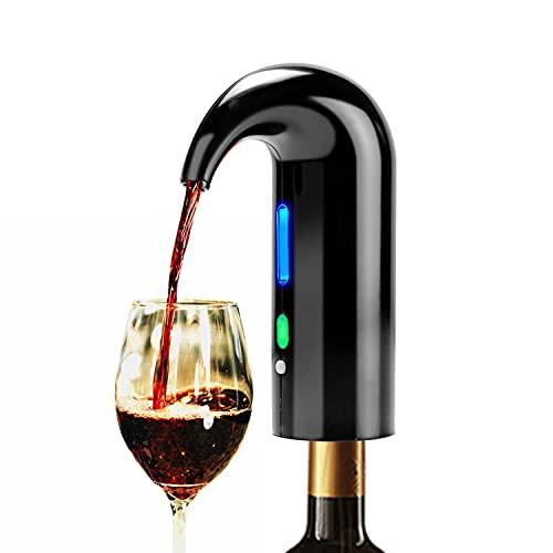 Decantador de vino y aireador,bomba vacio vinos electrico dispensador inteligente de un solo botón buenos para regalar de fiestas familiares de barbacoa(BLACK)