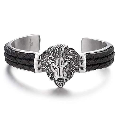 iMECTALII Herren Löwe Kopf Armband Armreif Edelstahl-Armband Eingelegt mit Schwarz Geflochtenen Leder, Silber Schwarz