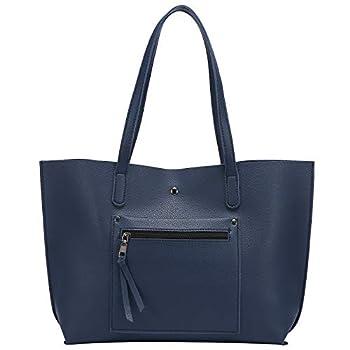 Loiral Tote Bag For Women Large Capacity Shoulder Bag with Front Pocket Pebbled Faux Leather Handbag