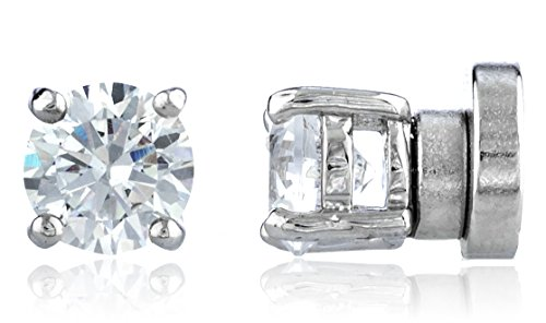 New & Improved! Silvertone with Clear Cz Round Magnetic Stud Earrings - 4mm to 12mm Available (5 Millimeters) (E-1522)