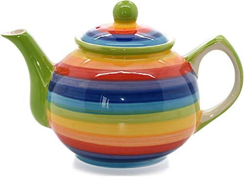 Teiera in ceramica motivo a righe arcobaleno, per 2