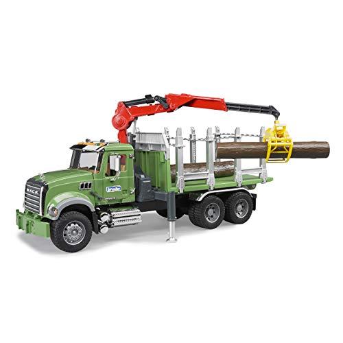 Bruder 02824 TOYS Mack Granite Holztransport-LKW mit Ladekran, Greifer und 3 Baumstämmen, Grün