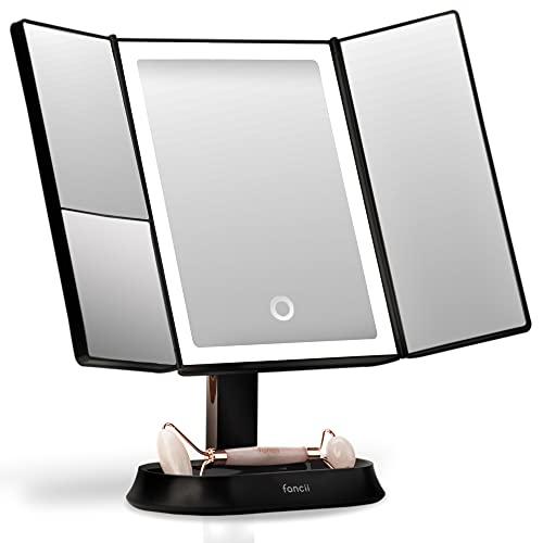 Fancii Espejo Maquillaje con Luz y Aumento 5x y 7x, Espejo de Mesa Cosmético con 40 Luces LED Naturales Regulables, Pantalla Táctil, USB o Batería y Soporte Ajustable - Sora (Negro)