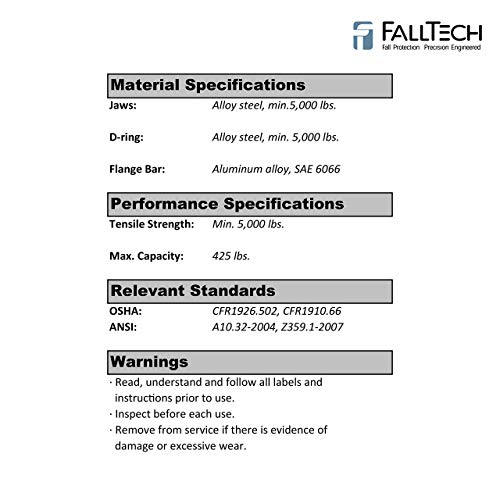 FallTech 7530 Steel, Trailing Beam Clamp Steel - Dual Ratcheting for Centering on I-beam, Machined Aluminum Bar, Steel Jaws w/Slider Pads, 4