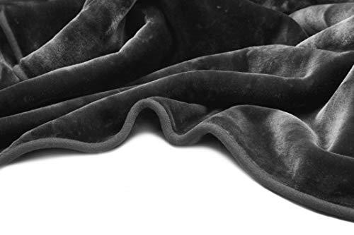 Vivalon Solid Color Ultra Silky Soft Heavy Duty Quality Korean Mink Reversbile Blanket 9 lbs King Dark Grey