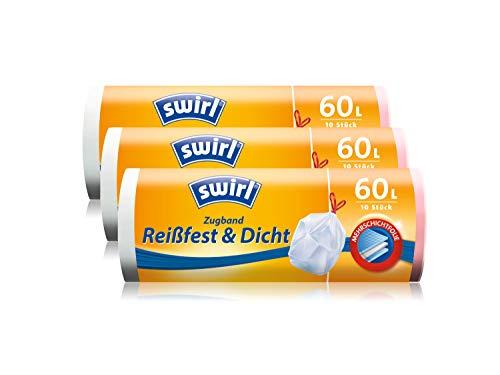 Swirl Zugband-Müllbeutel, 60 Liter, 3 Rollen mit je 10 Beuteln, Weiß